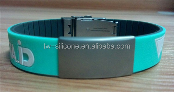 engrave metal plate debossed silicone id medical wristbands for running