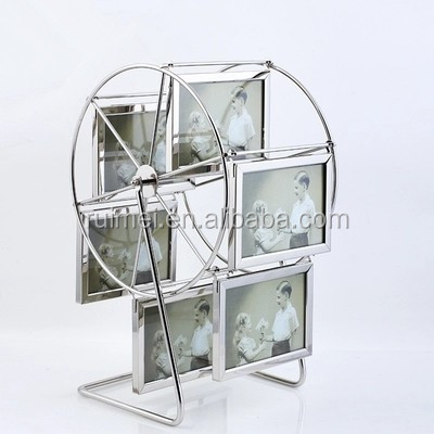 customized rotatable portable silver plated photo frame
