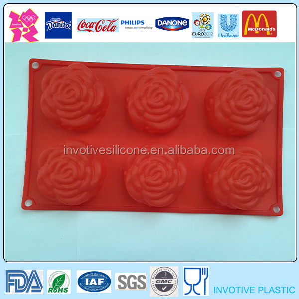 6 Cups Silicone Rose Cake Mold