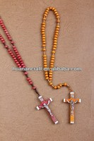 iron cross wood rosary