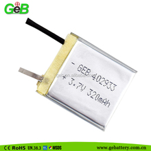 402933 single cell 3.7V 320mAh lipolymer rechargeable battery with pcb,wire for electric tools
