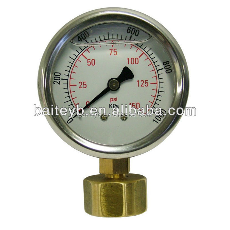 High quality all stainless steel water test pressure gauges