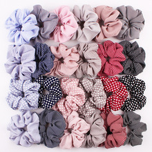 Wholesale Fashion Plaid Cotton Fabrics Scrunchies For Hair