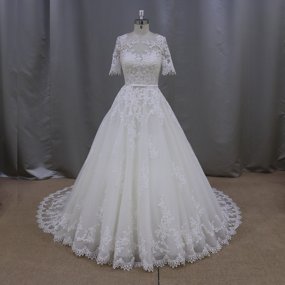 XF611 thai traditional dress quarter sleeves lace pattern wedding dress for women