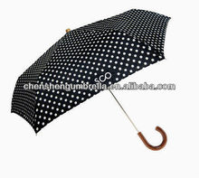wooden curve handle foldable dot umbrella