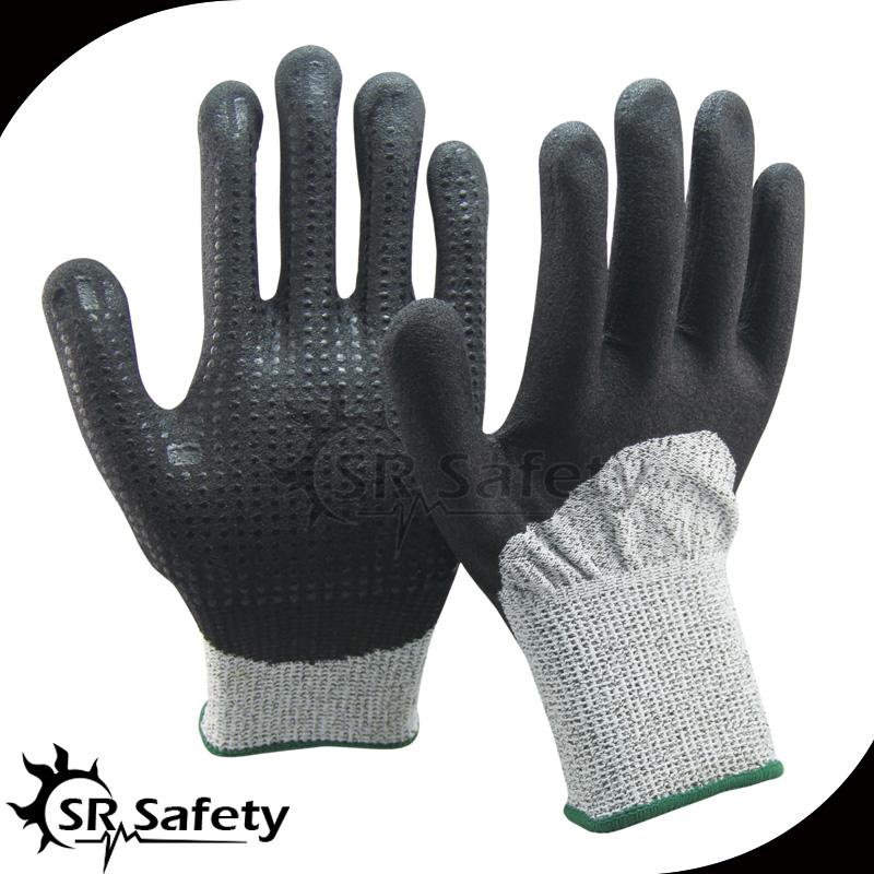 SRSAFETY black nitrile medical gloves wholesale with nitrile dots