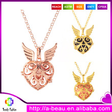 Wholesale Fashion Rose Gold Jewelry Harmony Balls Mexican Bola Musical Bell Chime Ball Angel Wings Baby Callers <strong>Necklace</strong>