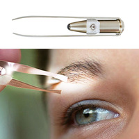 Newest Professional Clip Plier Stainless Steel LED Light Eyebrow Tweezer