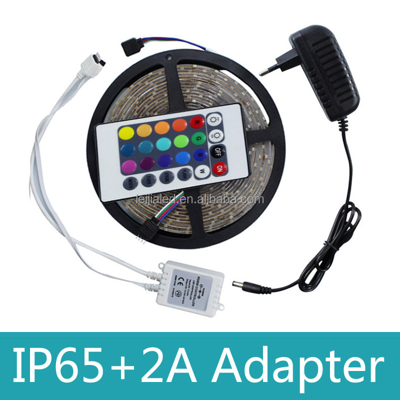 Waterproof IP65 12V 3528 RGB LED Strip Light With 24 keys Remote Control and 2A Power Supply EU US AU UA Plug