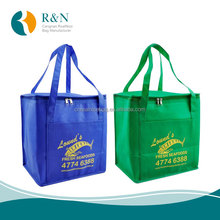 insulated freezer reusable shopping tote bag pp non woven cooler bag