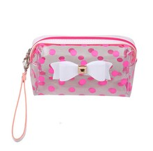 PVC Double Layer Cosmetic Bag With Pink Dots Travel Toiletry Cosmetic Makeup Bag Organizer With Carry On Handle