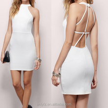 Anly wholesale sexy sleeveless backless white elastic formal evening dress