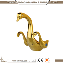 New Arrival Animal Design Deck Mounted Gold-plated Swan Shape Basin Faucet Black Dolphins Bathroom Faucet Crane Water Tap Mixer
