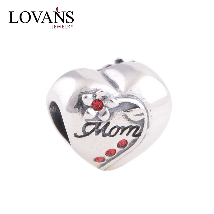 Wholesale Rose Valentine Hearts Murano Glass Bead with 925 Sterling Silver Tube YZ263