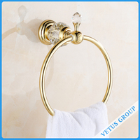 Bathroom Shower Set Refined Copper Golden Finish Towel Ring