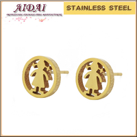 New Bijoux Female 18k Gold Plated Fashion Jewelry Cartoon Image Little Girl Stud Earrings for gift