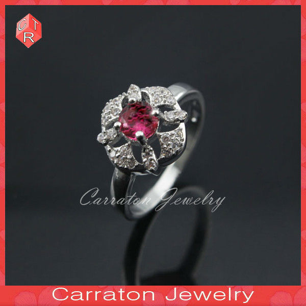 Roseo Big Stone Flower Shaped 925 Silver Ring Cubic Zirconia Ring
