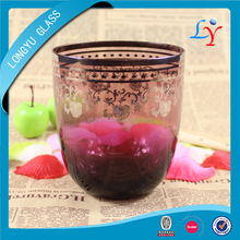 600ml purple handmade glass cup 20oz egg shaped big gold glasses cup Italian decorative drinking glasses with unique design