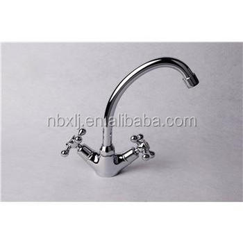 Deck mounted double handle kitchen faucet