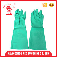 Green Oil Proof Industry Long Nitrile Gloves