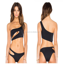 2015 Hot Open Sex girl One Shoulder Black Mesh transparent Bikini