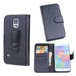 Black leather case cover for samsung galaxy S5 with holder ,display phone case accessories