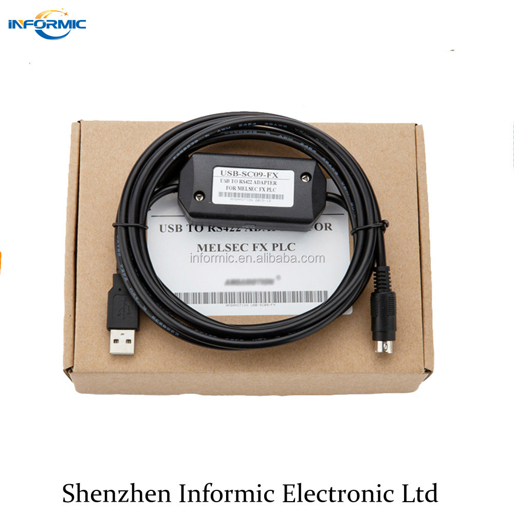 Black USB-SC09-FX PLC programming cable data download Wire for Mitsubishi FX 1N 1S 2N 3U series