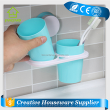 FY5263 Bathroom Plastic Toothbrush Holder Suction Cup Dual Couple Toothbrush Cups