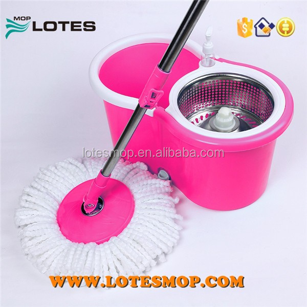 Spin mop with mop handle material is stainless steel