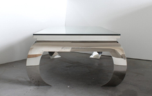 shiny stainless steel glass top coffee table