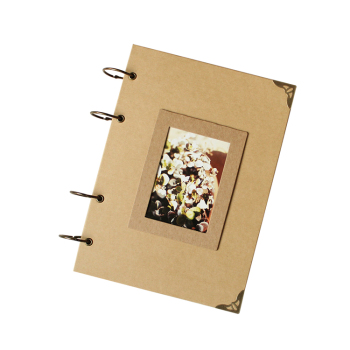 4 Ring Binding Plain Kraft Cover A4 Size Photo Album Scrapbook With 80 Hard Pages