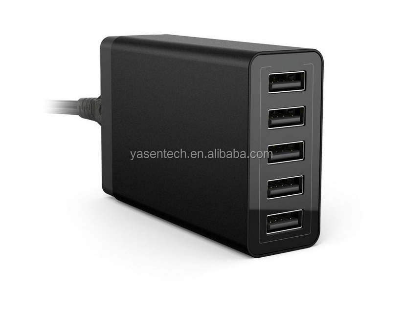 5 Ports QC 2.0 5V10A 50W Desktop USB Quick Charger with EU or US Plug for iPhone for Samsung