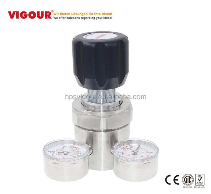 High pressure large flow argon gas hydrogen pressure regulator with gauge