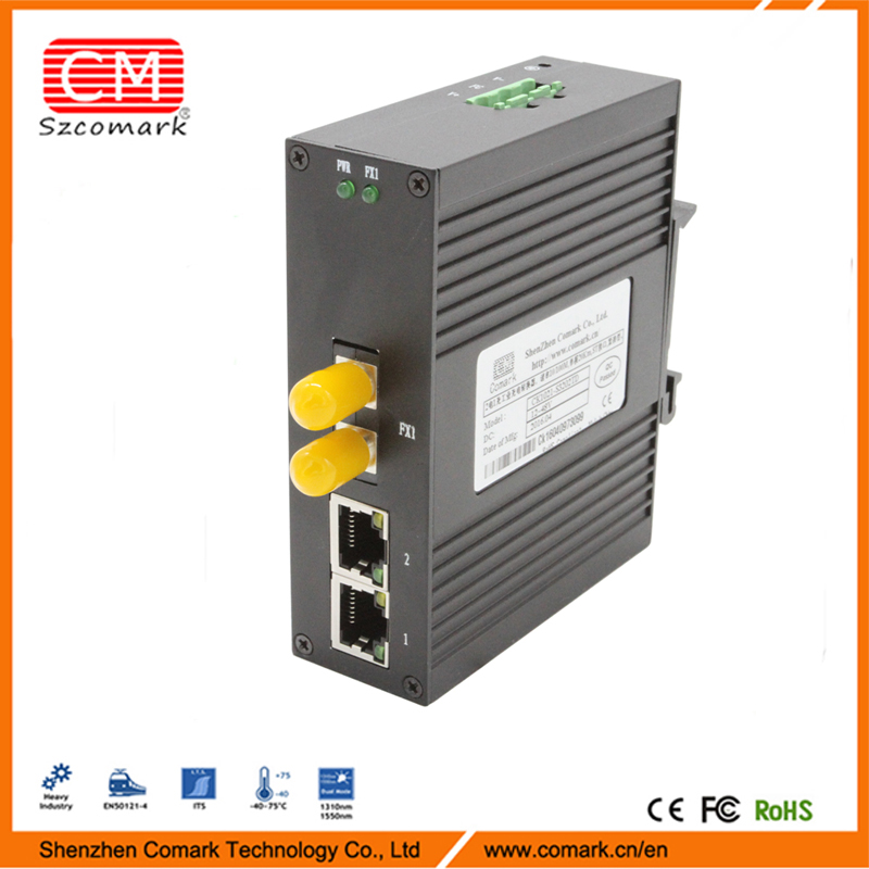 No Fans 1/2 Copper and 1/2 Fiber ports 10/100M Industrial e1 to ethernet converter