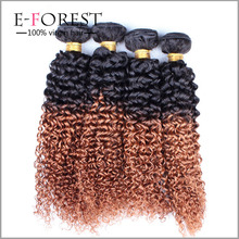 100 human hair Malaysia #1b #30 ombre color hair bundles Afro curly hair extensions