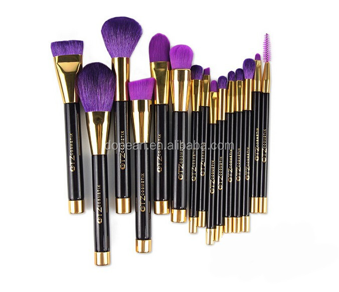 latest purple color makeup brush set 15piece
