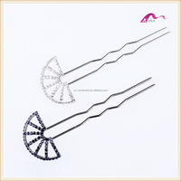 Fashion Wedding Crystal Chinese Fan Shape Hair Bun Stick Accessories