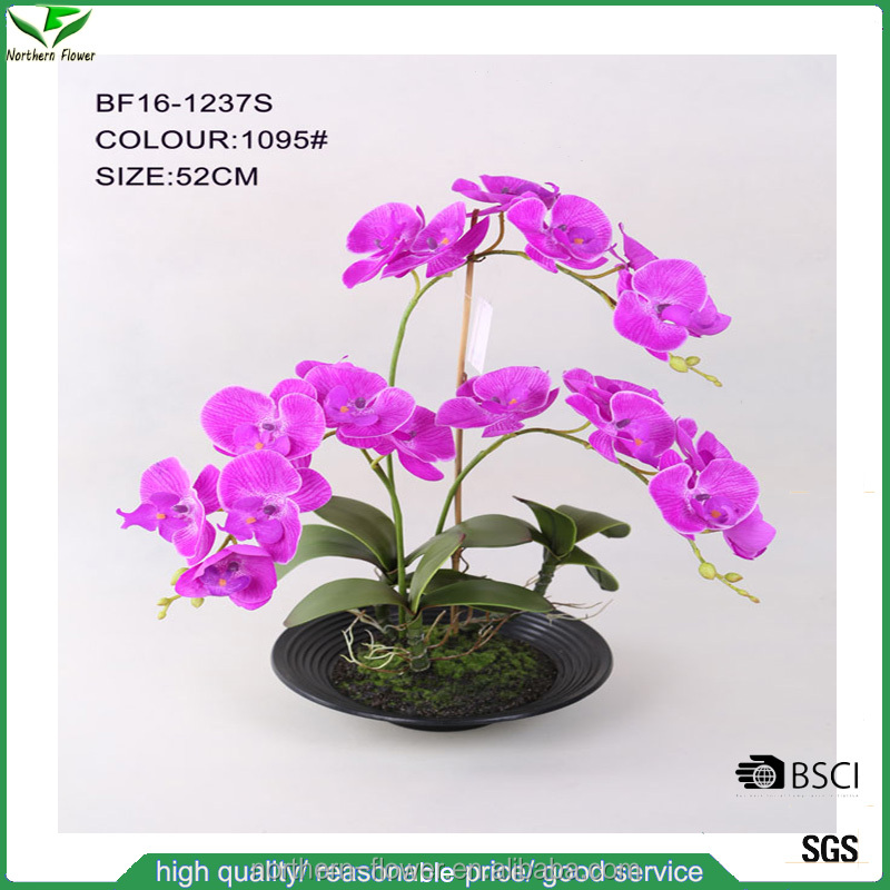 Home decoration high quality artificial orchid flower wholesale, Silk real looking artificial orchid flower with plastic plate