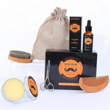 MOQ100 Private Label Beard Grooming Gift Set With Beard Wax Wooden Brush Cloth Bag Beard Growth Grooming Care Kit For Men