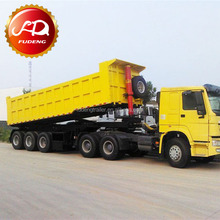Construction Business Semi Trailer Truck , High Rigidity 3 Axles Tipping Trailer Truck