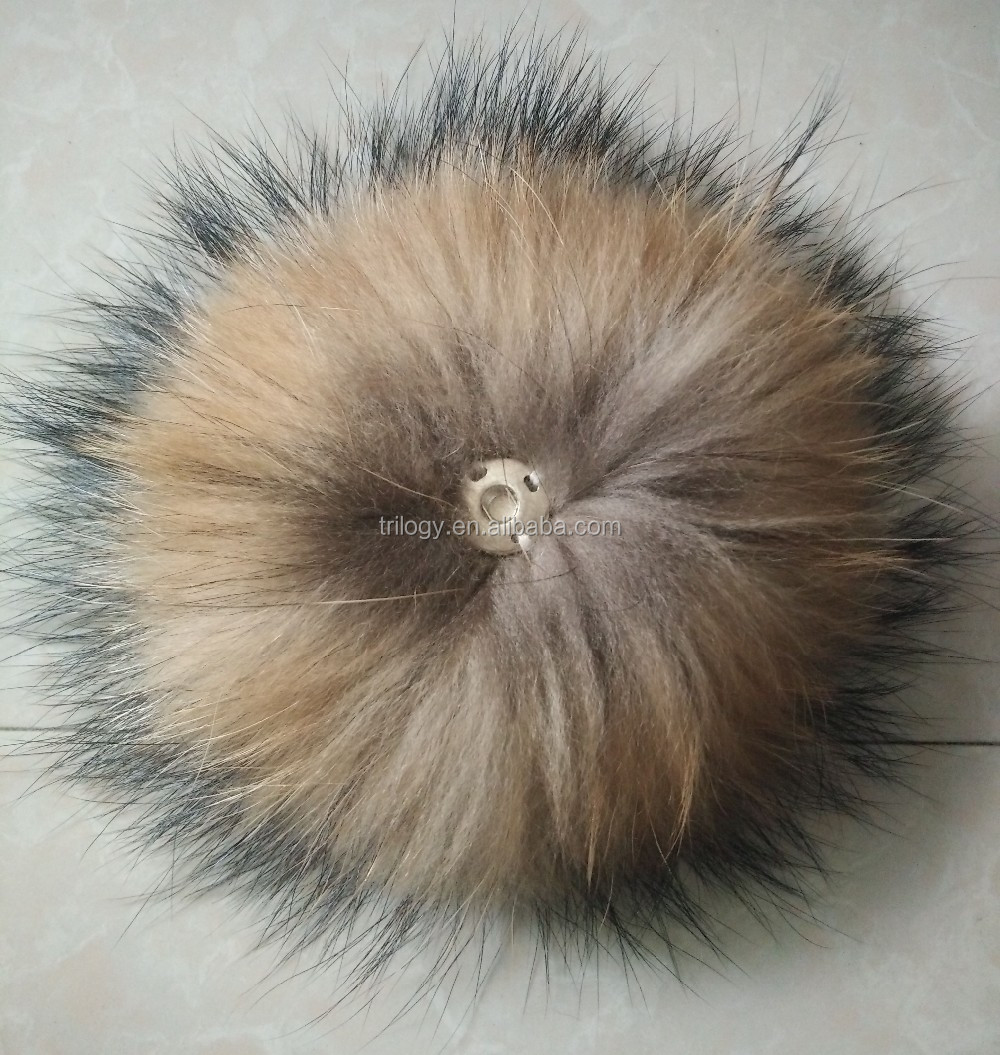 high quality big colored raccoon fur ball for beanie hats and bag charm