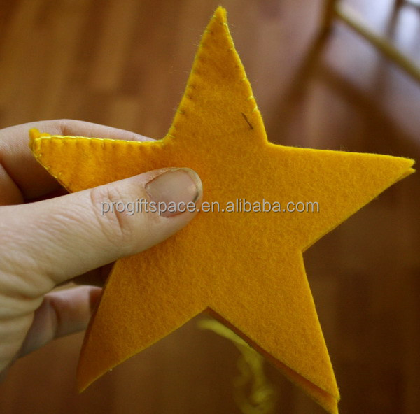 2017 hot sell eco friendly handmade crafts wholesale indoor diy wool star shape felt christmas decoration for tree made in China