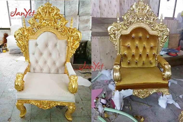 Hot Luxury gold king lion chair for hotel