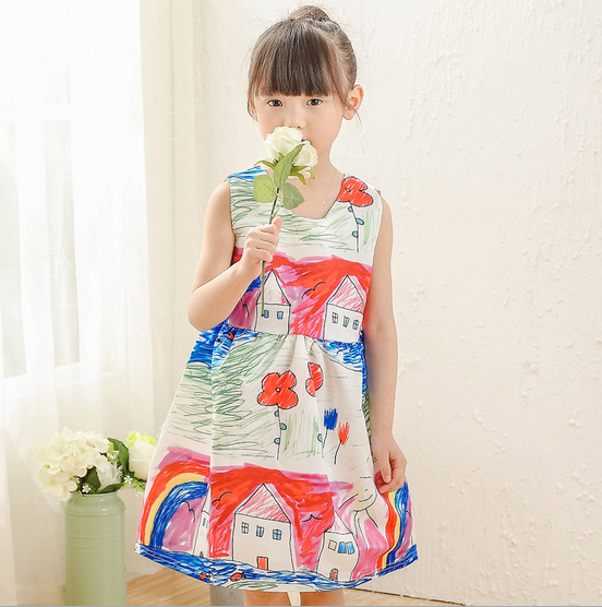 New Fashion Summer Girls Dresses /Sleeveless Vest Flower Wonderful Side Kids Dresses