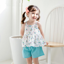 MS60747K floral top and short set summer kids clothing brands in China