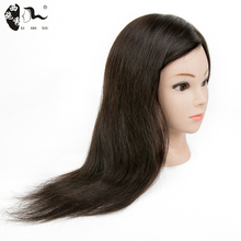 XISHIXIUHAIR Brand 45cm Salon Hairdressing 100%Real Human Hair Styling Training Practice Head With Table Clamp