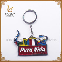 Pura vida life style theme funny cartoon shaped key ring