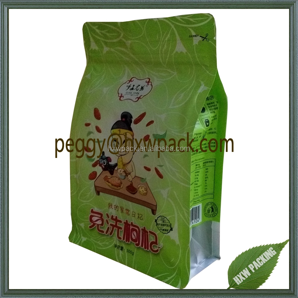 Resealable stand up pouch square flat bottom bag