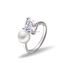 2016 new design product adjustable fashion ring , 925 sterling silver , pearl