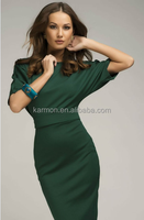 Oversized Dark Green Dress Simple High Waist Dress Tunic Jersey